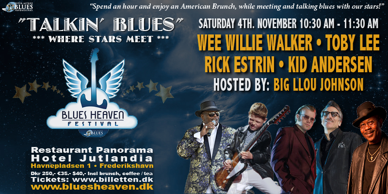 image of flyer for Talkin Blues event at Blues Heaven Festival, Denmark