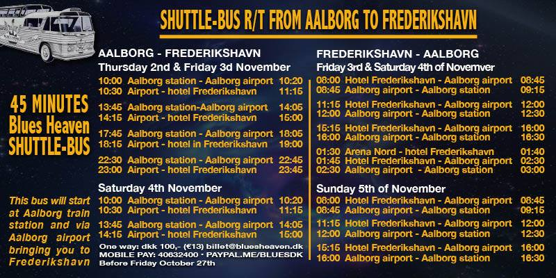 Shuttle image of flyer for Shuttle Bus timings for Blues Heaven in Denmark
