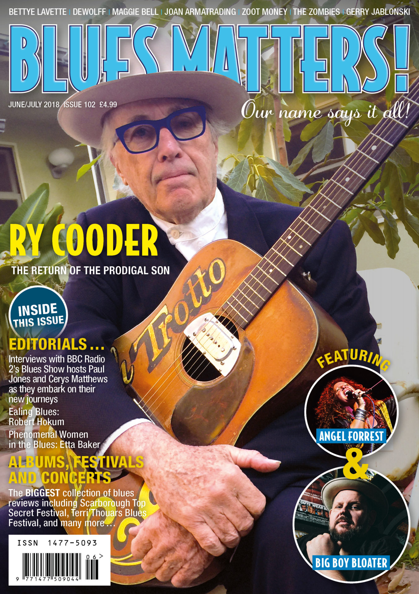 image of cover of Blues Matters Magazine issue 102 featuring Ry Cooder
