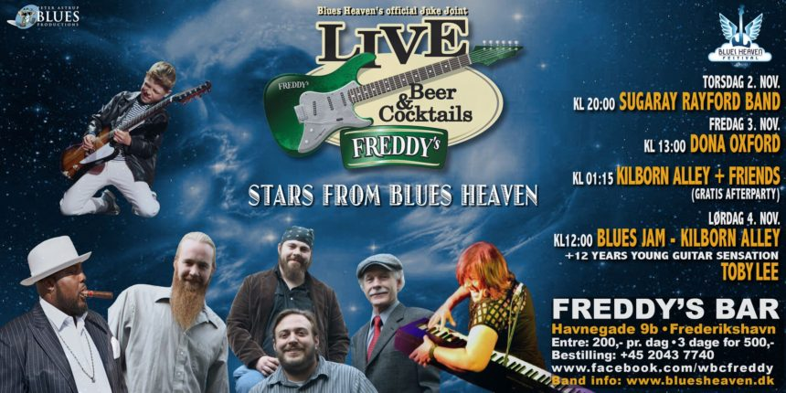 image of flyer for Freddy's Bar jam session at Blues Heaven, Denmark