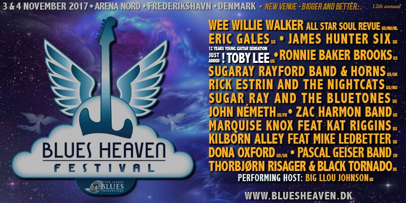 image of a flyer for artists performing at the 12th annual Blues Heaven Festival, Denmark