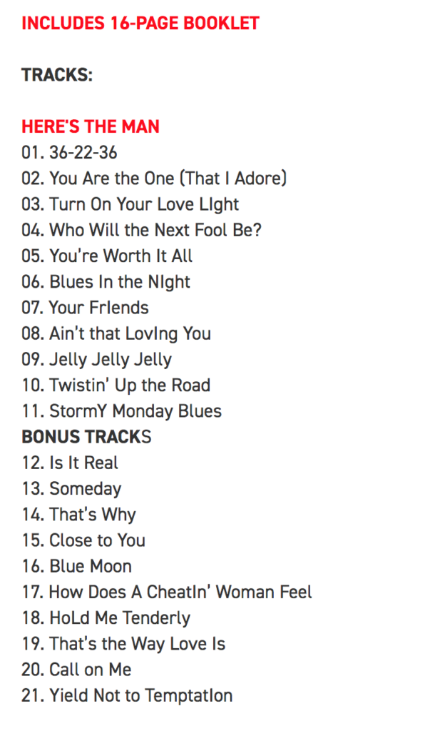 Image of the Track listing for Bobby Bland's Here's The Man reissue with 10 bonus tracks